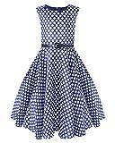 Kidsform Maedchen 1950er Vintage Retro Kleid Hepburn Stil Kleid Blumen Kleid Blau Weiss 11-12Y