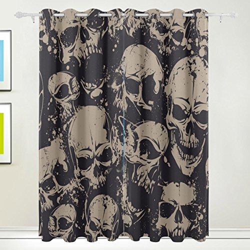 Fenster Vorhang, 2Felder Luxus Totenkopf Vintage Print Thermo-Isoliert Dicke Polyester-Blackout-Home Decor mit Öse für Schlafzimmer Wohnzimmer Badezimmer Küche 213,4x 139,7cm