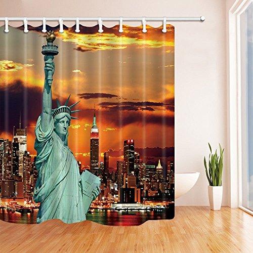 American Decor Vorhänge Dusche von gohebe Statue of Liberty in New York City bei Sun Set Zeit Bad Vorhänge 180,3x 180,3cm (Star-dusche Vorhang-set)