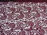 Couleur bordeaux brodée Floral Tissu dentelle Couture Robe douce en dentelle Tulle Tissu–Vendu par par 0.5metre * * gratuit UK P & P * * ordre d'envoi rapide * *
