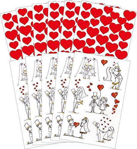 AVERY Zweckform 58226 Hochzeit Sticker Set Brautpaar (Vorteils-Pack) 279 Aufkleber rot