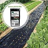 Kindlyperson Garden Vegetable Black Film, Plastic Mulch Film (95cm 10m 5 Holes...