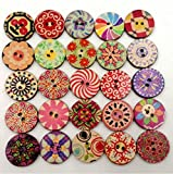 Bottoni in legno per artigianato, rotondi, decorativi, per cucito, confezione da 100 (colori assortiti)