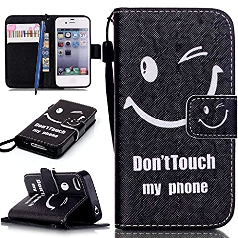 CareyNoce Wallet Leather Case for iPhone 4/4S,Smile face,Gunners,Pet Dog,See the