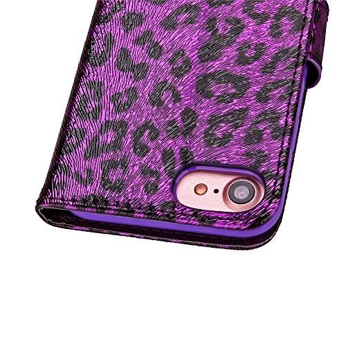 Blumen Hülle für iPhone 7,Leder Hülle für iPhone 7,iPhone 7 Schwarz Leder Handy Tasche Wallet Case Flip Cover Etui für iPhone 7 4.7 Zoll 2016,EMAXELERS iPhone 7 Case Leder Leather Solid Schmetterling  Leopard 5