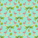 Flamingo Stoff–Flamingos & Palmen auf