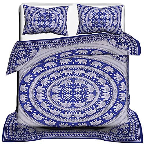 Janki Creation Bohemian Cotton Doona Quilts Handgefertigte wendbare Bettdeckenbezug Ethno-Bettwäsche Tagesdecke Überwurf Große Decken Decke
