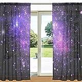 MyDaily Galaxy und Nebel Bedruckt Sheer Fenster und Tür Vorhang 2Felder 139,7x 213,4cm Rod Pocket Panels für Wohnzimmer Schlafzimmer Decor, Polyester, Multi, 55