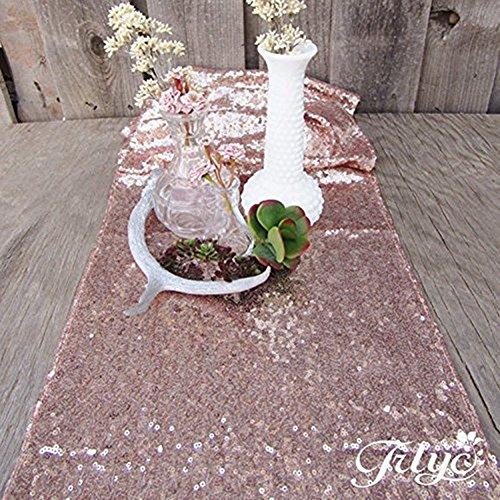 TRLYC 30cmx150cm Hochzeit Pailletten Tischläufer 12