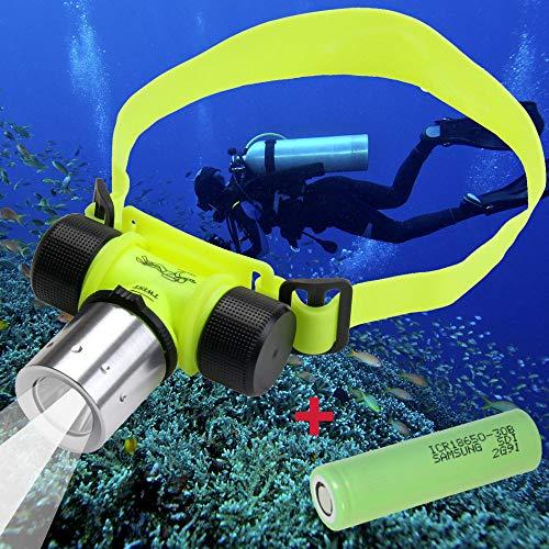 Trade-Shop Set-Angebot: CREE XM-L T6 LED Tauchlampe Taucherlampe Wasserdicht bis 30m Unterwasser Stirnlampe Kopflampe zum Tauchen 800 Lumen Weißes Licht + Samsung ICR18650-30B 3000mAh Akku