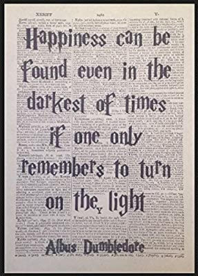 Page de dictionnaire vintage avec citation de Dumbledore de Harry Potter (en anglais)