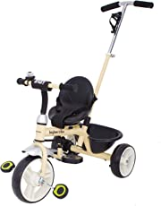 GoodLuck Baybee - 2 in 1 Convertible baby Tricycle kid's Trike with Parental adjust push handle children tricycle/bicycle with Seat Belt Kid's Ride on Outdoor | Suitable For Boys & Girls - (1 to 5 Years) (Beige)