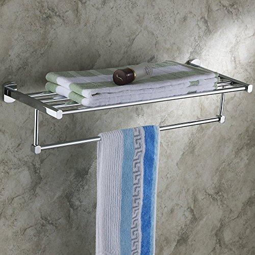 Hiendure® 60 cm ottone parete mensola del bagno multifunzione mensola del tovagliolo, cromo
