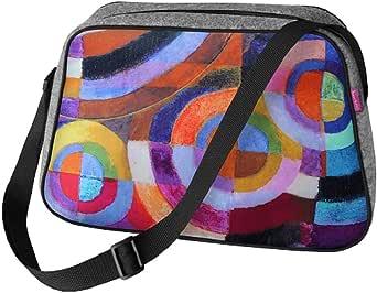 Große Damen Tasche Handtasche Umhängetasche Filz Grau Aufdruck Motiven NESI Circle