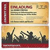 Einladungskarten zum Geburtstag (40 Stück) als Eintrittskarte im Vintage-Look Ticket Karte Einladung
