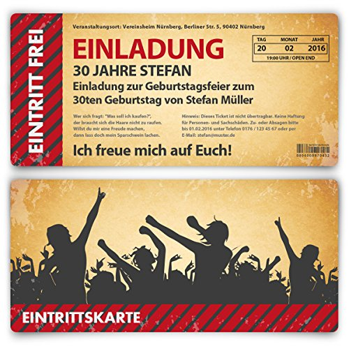 Einladung zum Geburtstag (30 Stück) als Eintrittskarte im Vintage-Look Ticket Karte Einladungskarten