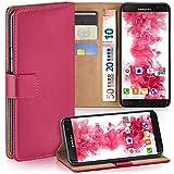 moex Samsung Galaxy S7 Edge | Hülle Pink mit Karten-Fach 360° Book Klapp-Hülle Handytasche Kunst-Leder Handyhülle für Samsung Galaxy S7 Edge Case Flip Cover Schutzhülle Tasche