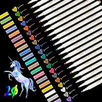 Leenou Pennarelli Metallici, 20 Pz Metallic Marker Penne, 20 Colori Assortiti per Album Fotografico Fai da Te, Scatole e Biglietti, Utilizzo su Qualsiasi Carta e Superfici in Vetro, Tazza o Ceramica