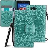 Schutzhülle für Sony Xperia Z3 Compact Grün,Slynmax Mandala Blume Wallet Case Handyhülle für Sony Xperia Z3 Compact Tasche Klapphülle Flip Cover Ledertasche Brieftasche Lederhülle Handytasche,Flower