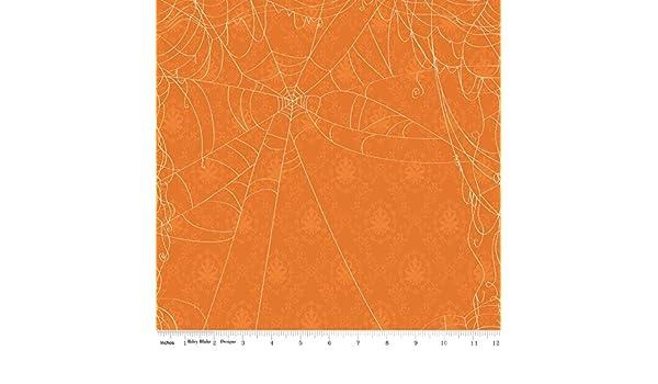 Fat Quarter Witch Hazel Web Orange Halloween Quilting Fabric Riley Blake C3932