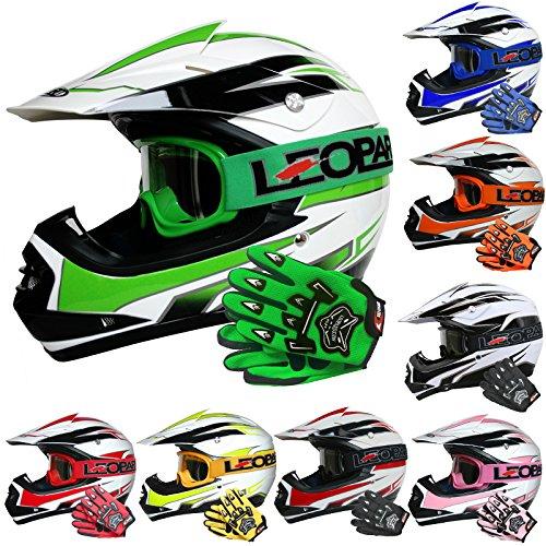 Leopard LEO-X16 Kinder Motocrosshelme Mädchen Jungen Schutz Rennen Bike Motorradhelm + Brille + Handschuhe | Grün M (51-52cm)