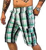 Herren Karoshorts Bermuda Hose CAGO-Shorts Sommer Hose Kurz Shorts Herrenshorts H-158 M Green7