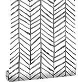 Taogift Papel pintado de vinilo de 17.7 x 117 pulgadas, diseño geométrico de rayas, color blanco y negro, para paredes, estan