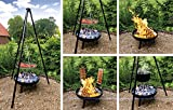 Multi-Grillset Schwenkgrill Feuerschale Emailletopf Fischfilethalter BBQ Flammlachs