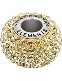 Grand Trou Perles de Verre a enfiler de Swarovski Elements 'BeCharmed Pave' 14.0mm (Jonquil, Acier affiné), 12 Pièces