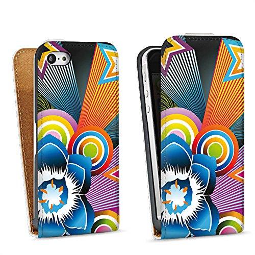 Apple iPhone 4 Housse Étui Silicone Coque Protection Ornements Fleur couleurs Sac Downflip blanc