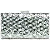 CASPAR TA340 elegante Damen Glitzer Box Clutch Tasche, Farbe:silber;Größe:One Size