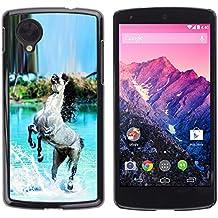 STPlus Caballo gris Animal Carcasa Funda Rigida Para LG Nexus 5