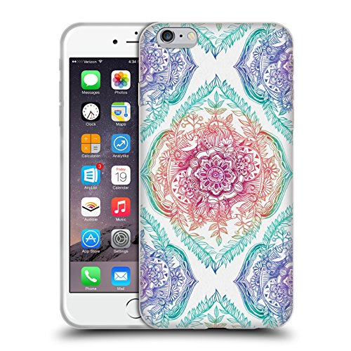 Offizielle Micklyn Le Feuvre Diamanten Doodle Navy Blau Und Kreme Blumige Muster Soft Gel Hülle für Apple iPhone 6 Plus / 6s Plus Tusche Und Regenbogen
