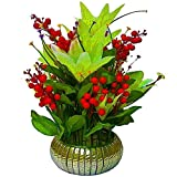 #6: PG Creations Artificial Flowers with Vase For Office | Home Decoration, Red, Medium, Set of 1
