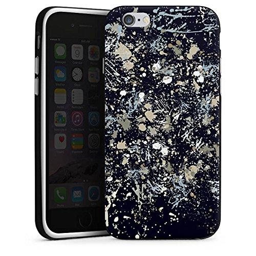 Apple iPhone X Silikon Hülle Case Schutzhülle Camouflage Farbklekse Muster Silikon Case schwarz / weiß