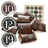 24 kleine Geschenkschachteln Geschenk-Boxen Kartons 14,5 x 10,5 cm + 3 cm hoch Holz Optik braun + Aufkleber Adventskalener-Zahlen