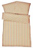 Atmungsaktive Mako Perkal Sommerbettwäsche 135 x 200 cm Orange aus 100 % Baumwolle für besten Schlafkomfort bei warmen Temperaturen – 2-teiliges kariertes Bettenset mit Kopfkissen Bezug 80 x 80 cm