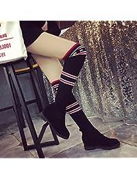 Botas Botas Botas Zapatos Planos Mangas Zapatos de Moda Zapatos de Estudiante Botas de Lana Botas Altas , negro...