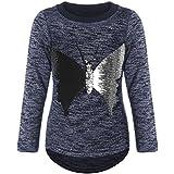BEZLIT Mädchen Pullover Langarm Wende-Pailletten Schmetterling 21516 Blau Größe 152