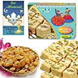 #5: BOGATCHI Eid Mubarak Gift Pack, Premium Eid Special Gift for family, Sweets and dry fruits for Eid, Traditional Soan Papdi (250g)+ Afgani Raisins (100g) + FREE Eid Mubarak Greeting Card