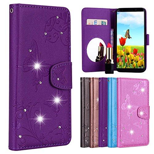 Vectady für Samsung Galaxy S8 Hülle, Handyhülle Case Schutzhülle Leder für Samsung Galaxy S8 Handytasche Lederhülle mit Spiegel Glitzer Diamant Magnet Flip Cover für Galaxy S8,Lila