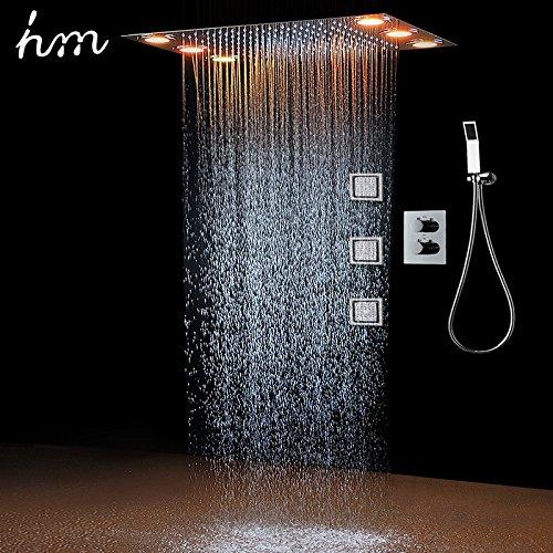 Galvanik Retro Wasserhahn Regendusche Set & 3 Body Spray LED Beleuchtung & Handdusche Fernbedienung 3-Wege Temperatur Thermostatmischer Badezimmer 360*500 mm, Weiß (Bronze-beleuchtung Golden-beleuchtung)