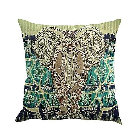 Cushion Cover, Hankyky Linen Mandala Style Pillow Case Elephant Tree Flowers Moon Sun Printed Home Decor Throw Sofa Car, 18 x 18