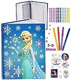 Unbekannt 3D Glitzer Sticker - Tagebuch / Notizbuch -  Disney die Eiskönigin - Frozen  - Kindertagebuch / Buch - 100 Seiten incl. Sticker & Stifte / gebunden für Gehe..