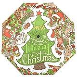 ISAOA Automatischer Reise-Regenschirm, faltbar, Weihnachtsbaum, Stechpalmenbeere, Schneemann, Lebkuchen, Hirsch, Weihnachtsmann, Socken, leicht, kompakt, Winddicht