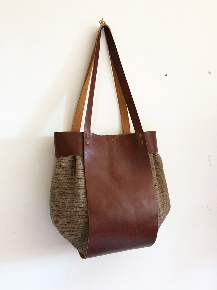 Women handbag in genuine leather and cotton, work bag women, made in italy, handmade handbags BBagdesign - handmade-bags