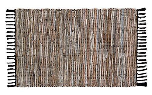 Hand Gewebt Leder (Hand Gewebt und handgenäht Teppich Leder Multi, aus Echtem Leder Streifen, Fransen Trim, Langlebig, schmutzabweisend, Umweltfreundlich; Tan Grau 24x 36)