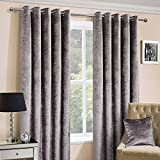 Homescapes Silver Crushed Velvet Lined Curtain Pair 66 x 72 Inch Drop (167 x 182 cm) Luxury Heavy Weight Contemporary Neutral Eyelet Ready Made Curtains