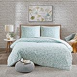 SCM Bettwäsche 200x200cm Grün Blumen 3-teilig Bettbezug & Kissenbezüge 80x80cm in Stickerei-Look Ideal für Schlafzimmer Halsey