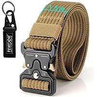 FEIKCOR Cinturón Táctico Cinturón Resistente para Hombres Cinturón Militar DE 1,5 '' Cinturones de Fijación Rápida Cinturón de Nylon con Hebilla de Metal (WolfBrown-N022)